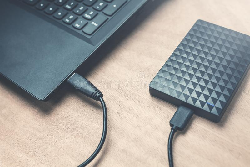 External hard drive connection on a laptop. royalty free stock images