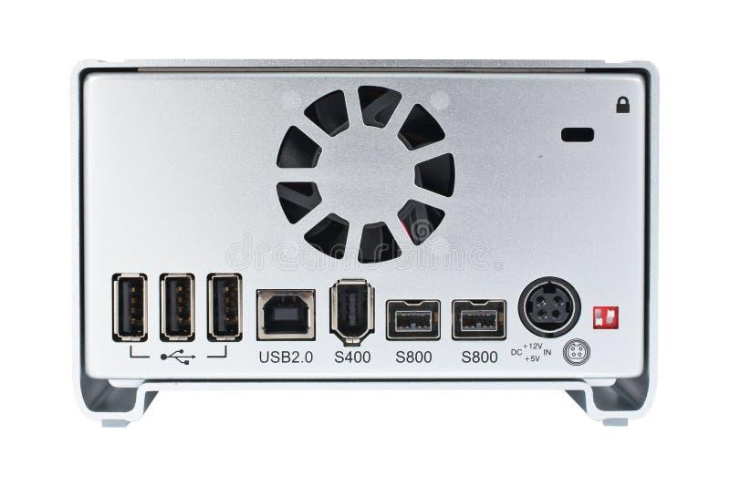 External hard drive rear view stock image