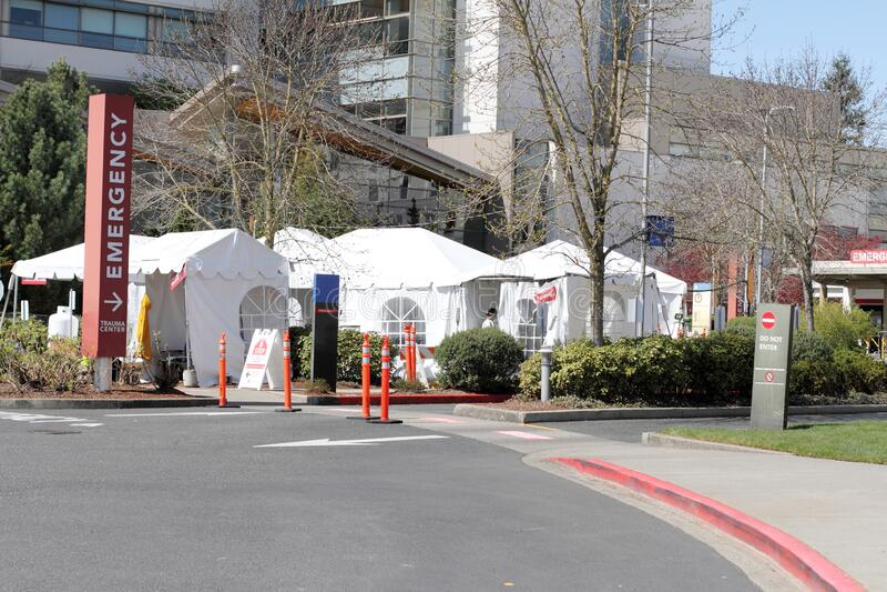 External hospital tents on hospital property stock images