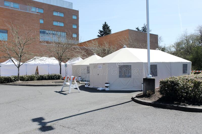 External hospital tents on hospital property royalty free stock images