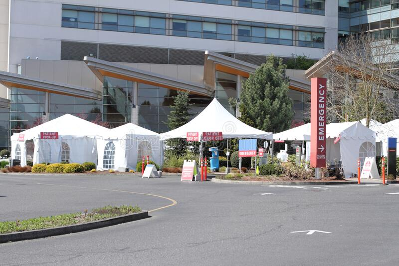External hospital tents on hospital property royalty free stock photo