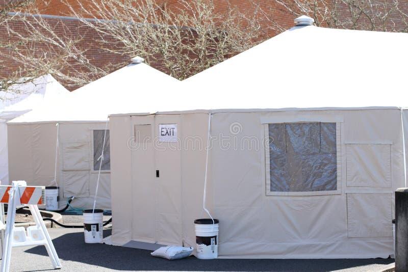 External hospital tents on hospital property stock photos