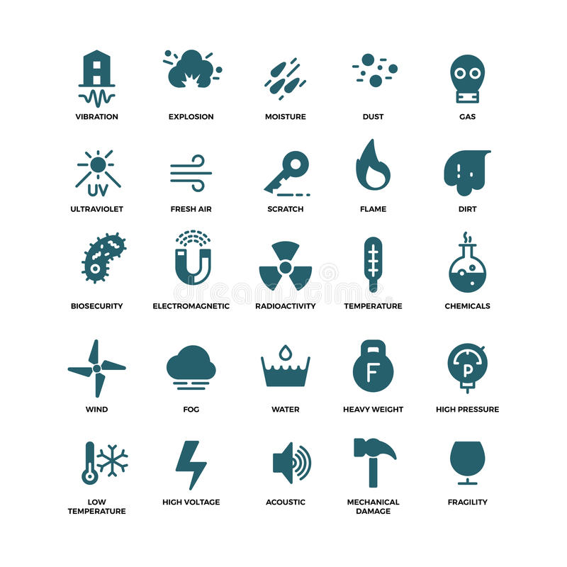 External influence protection vector icons. Mechanical damage and ultraviolet, fragility and vibration illustration royalty free illustration