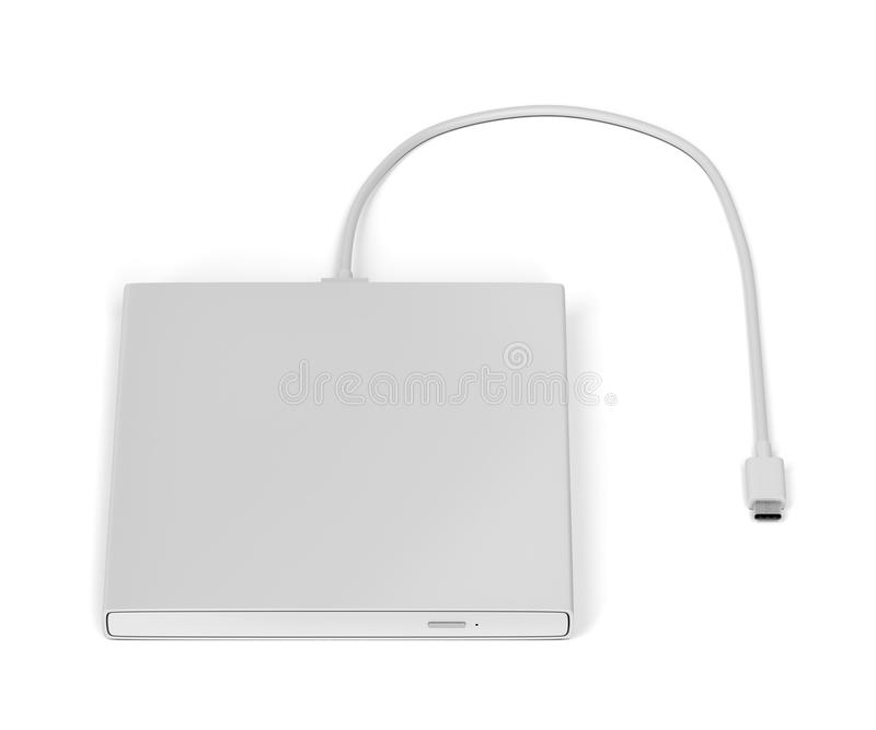 External optical disc drive. On white background royalty free stock images