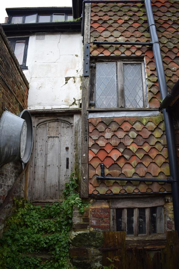 A external photo of the outside of a Tudor house stock photography