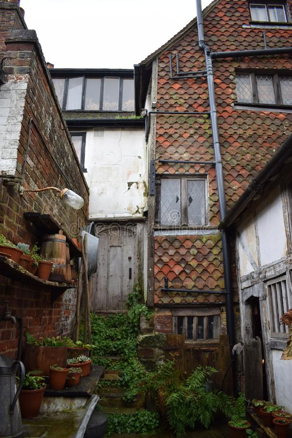 A external photo of the outside of a Tudor house stock image