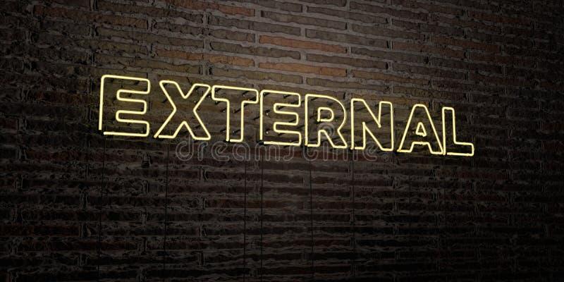 EXTERNAL - Realistyczny Neonowy znak na ściana z cegieł tle - 3D odpłacający się królewskość bezpłatny akcyjny wizerunek ilustracji