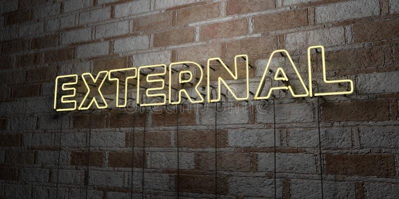 EXTERNAL - Rozjarzony Neonowy znak na kamieniarki ścianie - 3D odpłacająca się królewskości bezpłatna akcyjna ilustracja ilustracja wektor