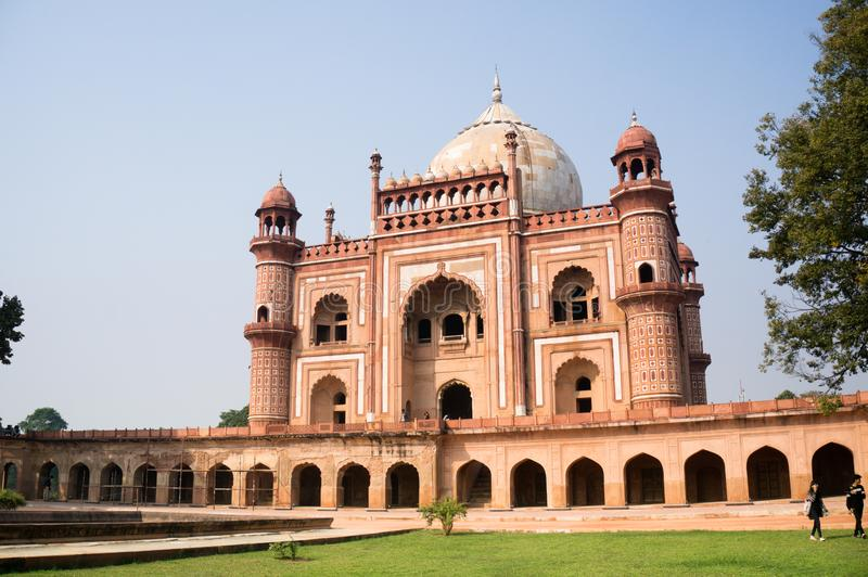 External shot of humayun`s tomb with people stock photo