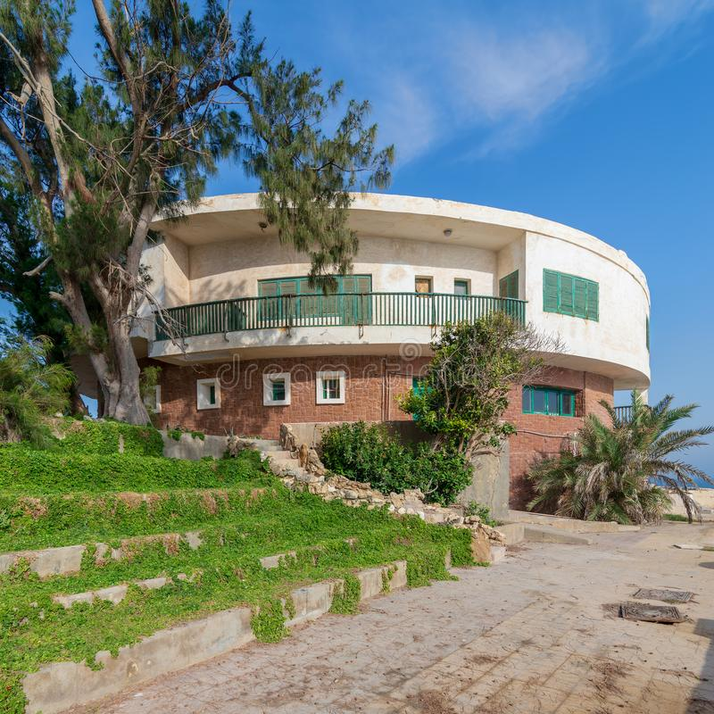 External shot of an old house by the Mediterranean Sea at Montaza park, Alexandria, Egypt, known as the villa of Mr Hussein El stock photo