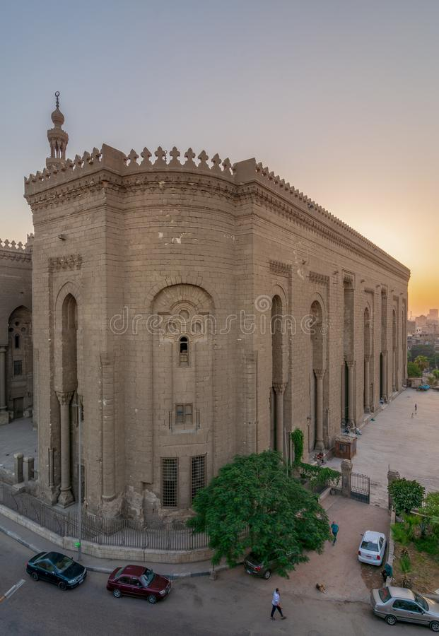 External view of Al Rifai historical mosque. View from from Al Rifai Street, Old Cairo, Egypt stock images