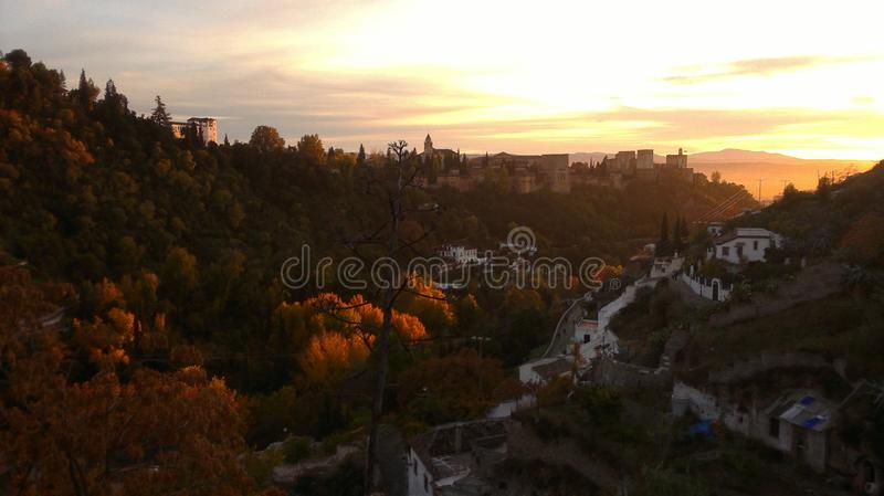 External view of Alhambra royalty free stock photography