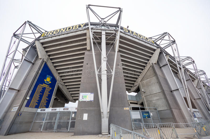 External view of Brondby Arena. Copenhagen, Denmark - August 26, 2015: External view of Brondby Arena during the UEFA Europa League, first round of the playoffs stock photography