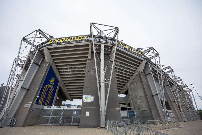 External view of Brondby Arena. Copenhagen, Denmark - August 26, 2015: External view of Brondby Arena during the UEFA Europa League, first round of the playoffs royalty free stock photo