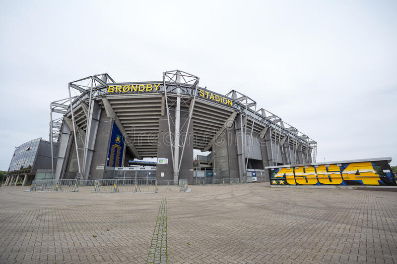 External view of Brondby Arena. Copenhagen, Denmark - August 26, 2015: External view of Brondby Arena during the UEFA Europa League, first round of the playoffs royalty free stock image