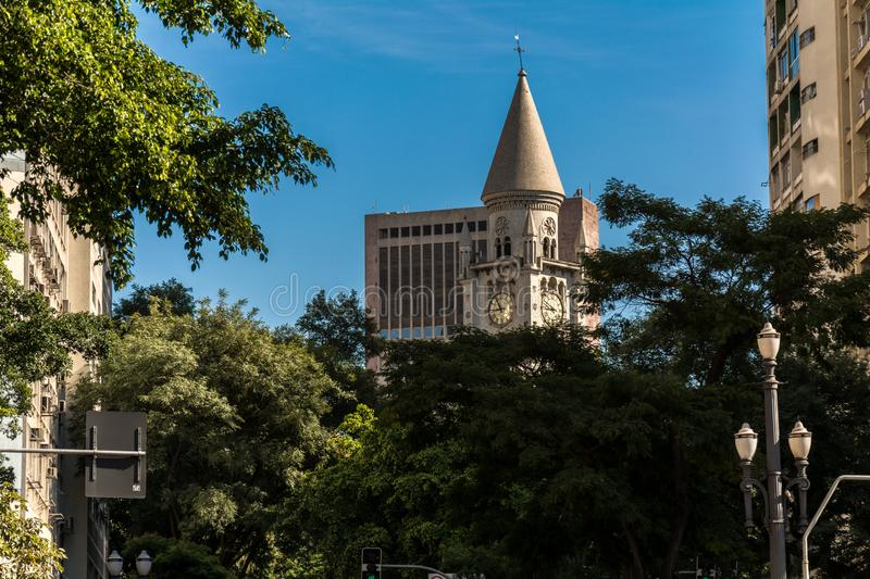 External view of the Our Lady of Consolation Church, as part of the city of Sao Paulo, Brazil stock photography
