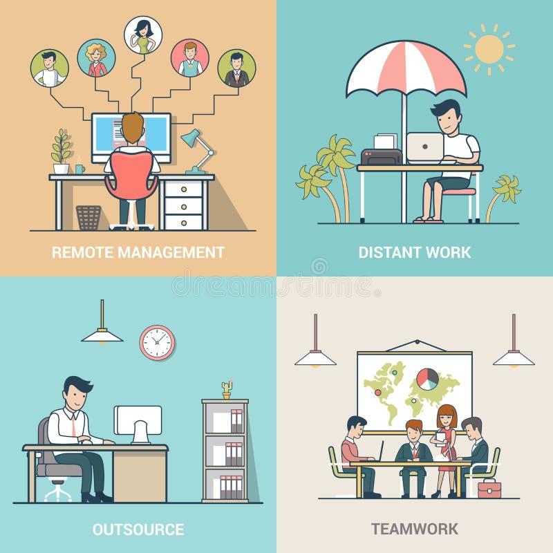 Externalice la gestión remota del trabajo distante del trabajo en equipo ilustración del vector