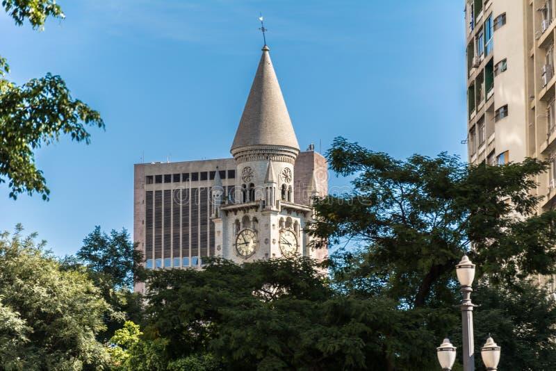 Externe Ansicht der unserer Dame der Trost-Kirche, als Teil der Stadt von Sao Paulo, Brasilien stockbilder