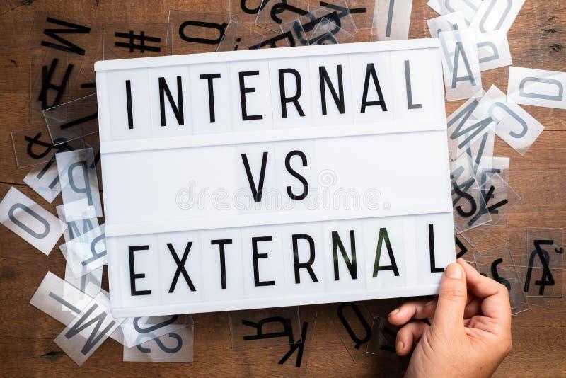 Externe interne VS externe photos libres de droits
