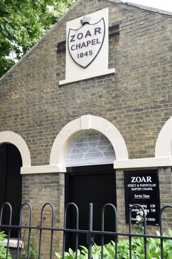 Externe mening van Zoar-Kapel Strikt Baptist Church stock afbeelding