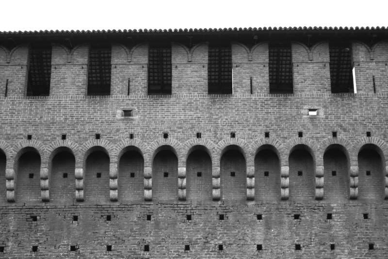 Externe muur van Castello Sforzesco stock fotografie
