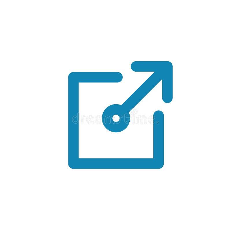 Externe Verbindungs-Ikone - zeigt einem Benutzer, dass sie einen App für eine Website verlassen werden vektor abbildung