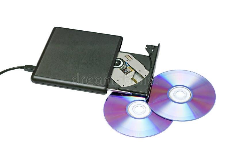 Externes dvd Laufwerk und Platten lizenzfreie stockfotos
