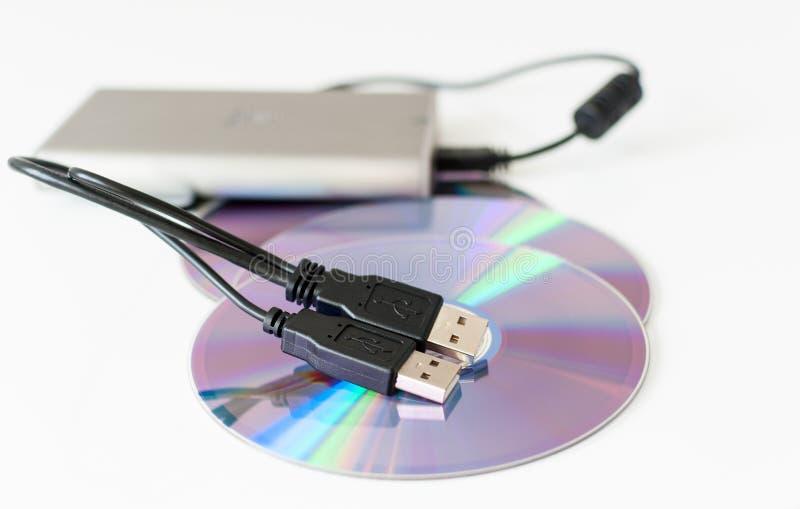 Externes Festplattenlaufwerk und cd Disketten stockfotos