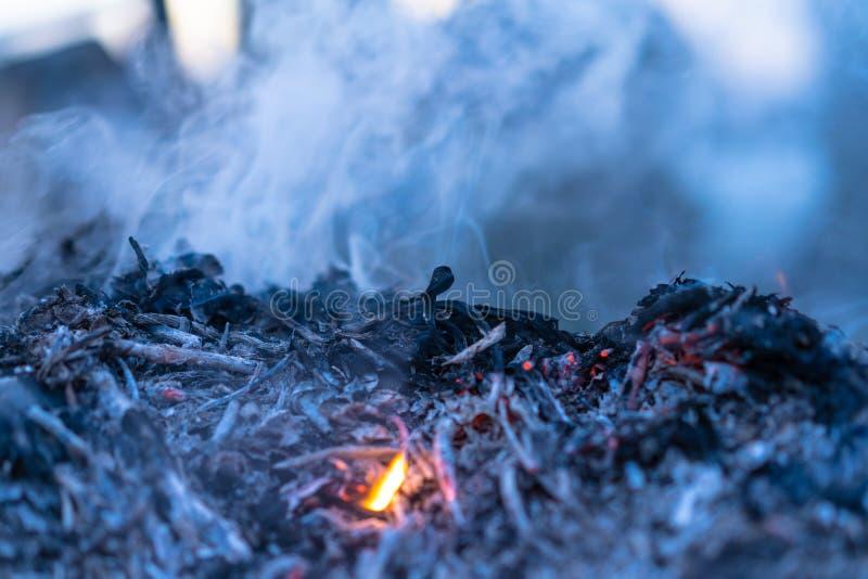 Extinct bonfire with smoke and ash.  stock image