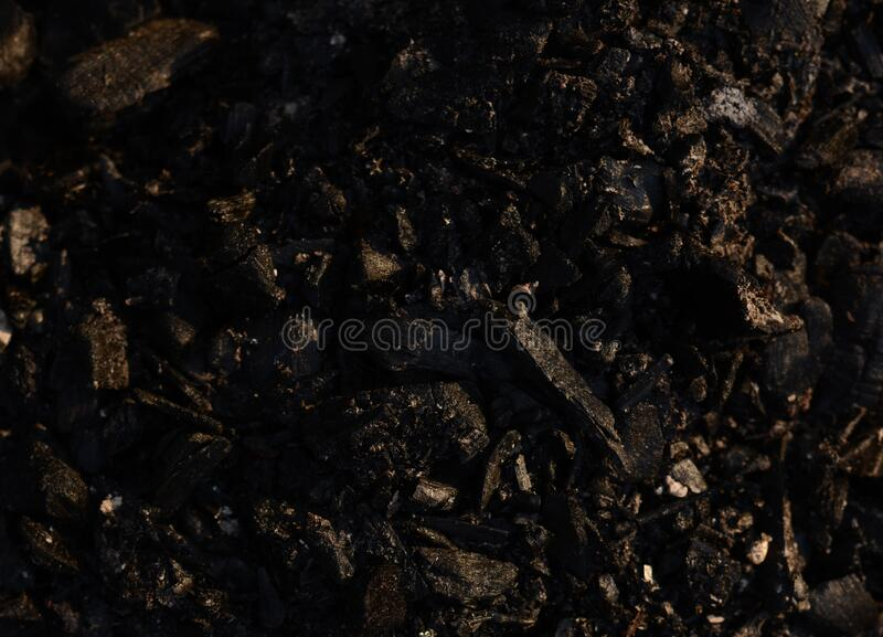 Extinct coal after a fire. In the spring sunshine, background royalty free stock photography
