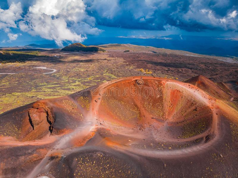 Extinct crater of volcano Etna Sicily, Italy. Panoramic aerial photo. Top view royalty free stock photo