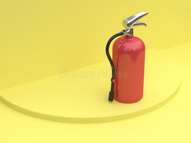 extincteur jaune de plancher de mur du rendu 3d illustration stock