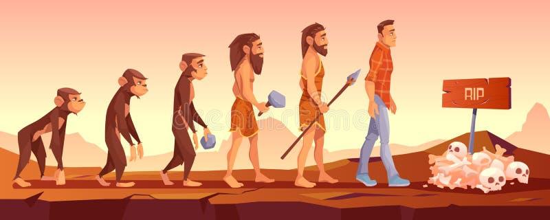 Extinction of human species, evolution time line stock illustration