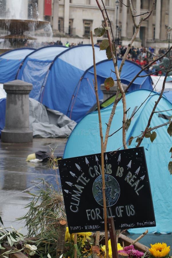 Extinction Rebellion camp at Trafalgar Square stock photo