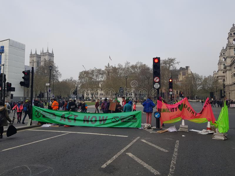 The Extinction Rebellion: Climate protesters in Central London royalty free stock photos