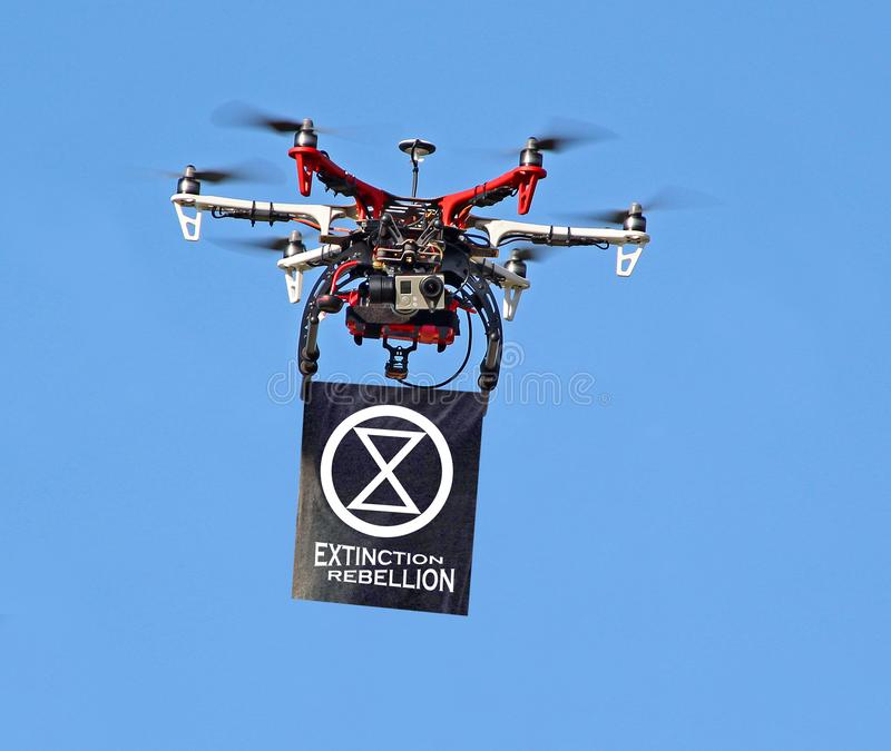 Extinction rebellion drone unmanned aerial vehicle remote control royalty free stock image