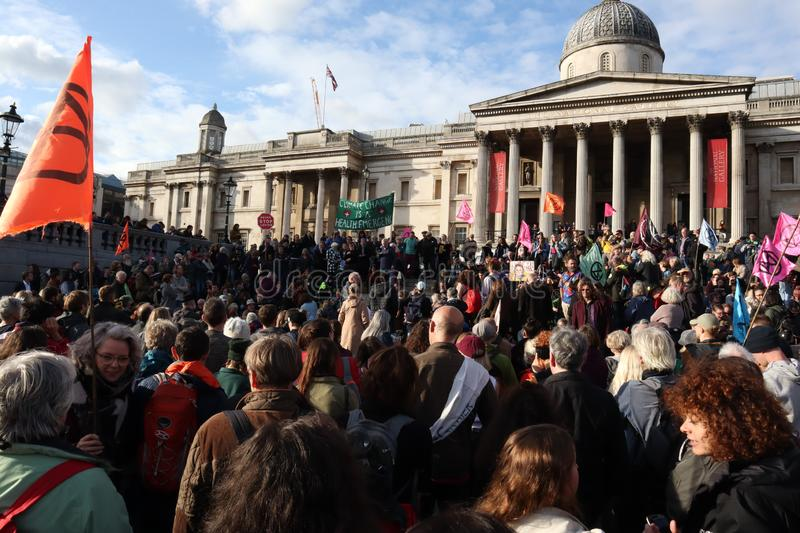 Extinction Rebellion With National Galleries in Background. stock images