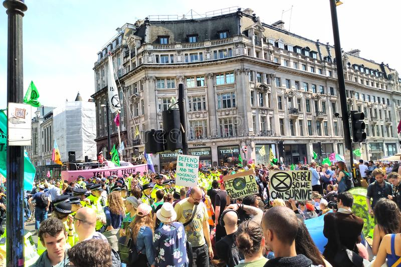 Extinction Rebellion at Oxford Circus royalty free stock image