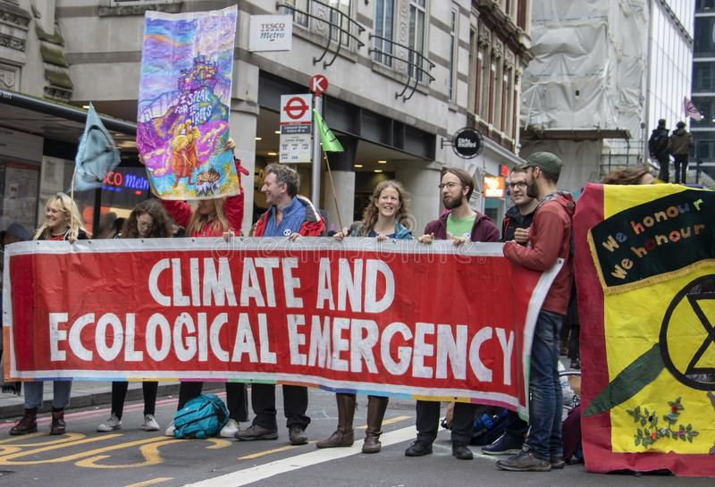 Extinction Rebellion Protest In liverpool street station royalty free stock images