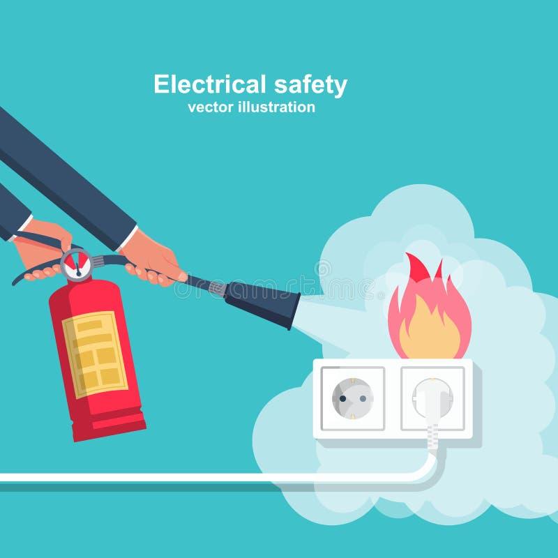 Extinga a fiação do fogo na casa ilustração stock