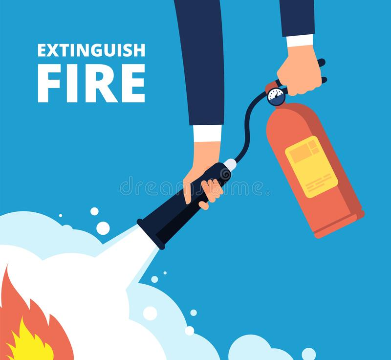 Extinguish fire. Fireman with fire extinguisher. Emergency training and protection from flame vector concept. Illustration of protection and danger burn vector illustration