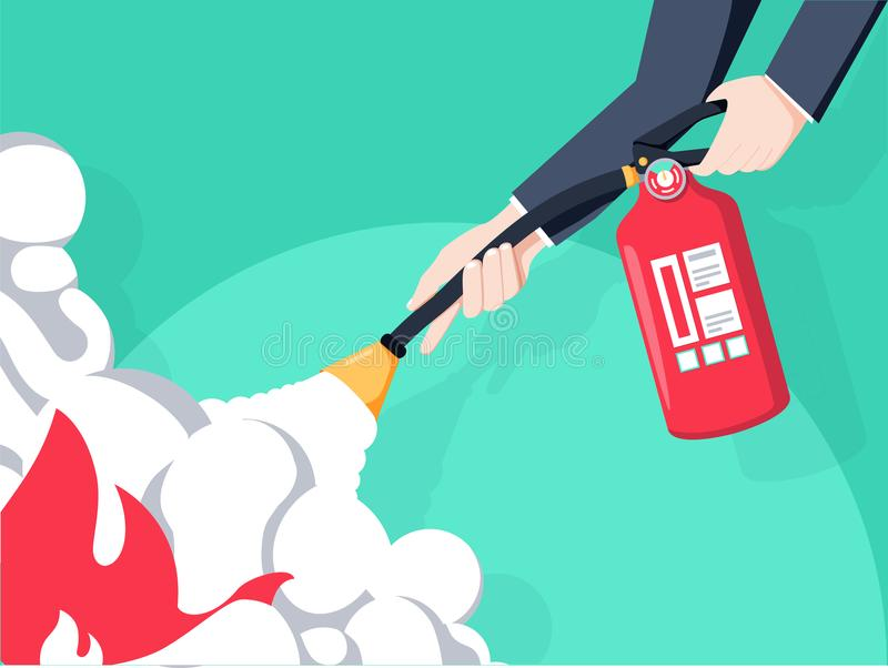 Extinguish fire. Fireman hold in hand fire extinguisher. Vector illustration flat design. Isolated on background. royalty free illustration