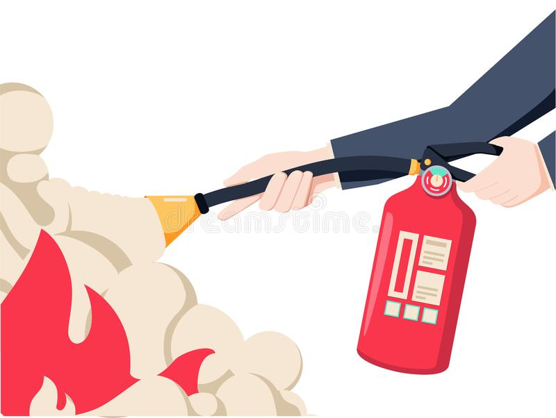 Extinguish fire. Fireman hold in hand fire extinguisher. Vector illustration flat design. Isolated on white background. Protection from flame. Show training stock illustration