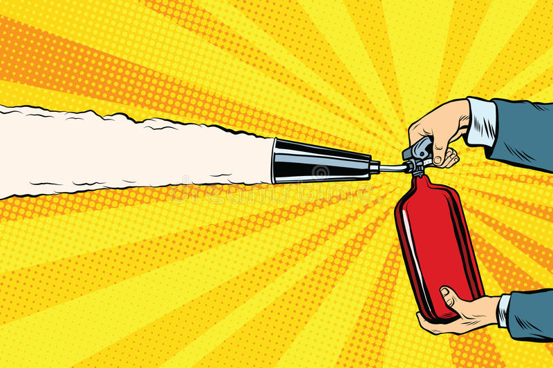 Extinguish the flames with a fire extinguisher royalty free illustration