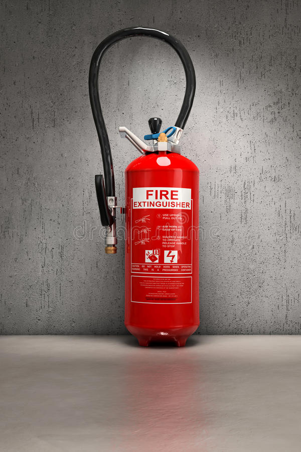 Extinguisher background. Fire extinguisher on concrete wall stock illustration