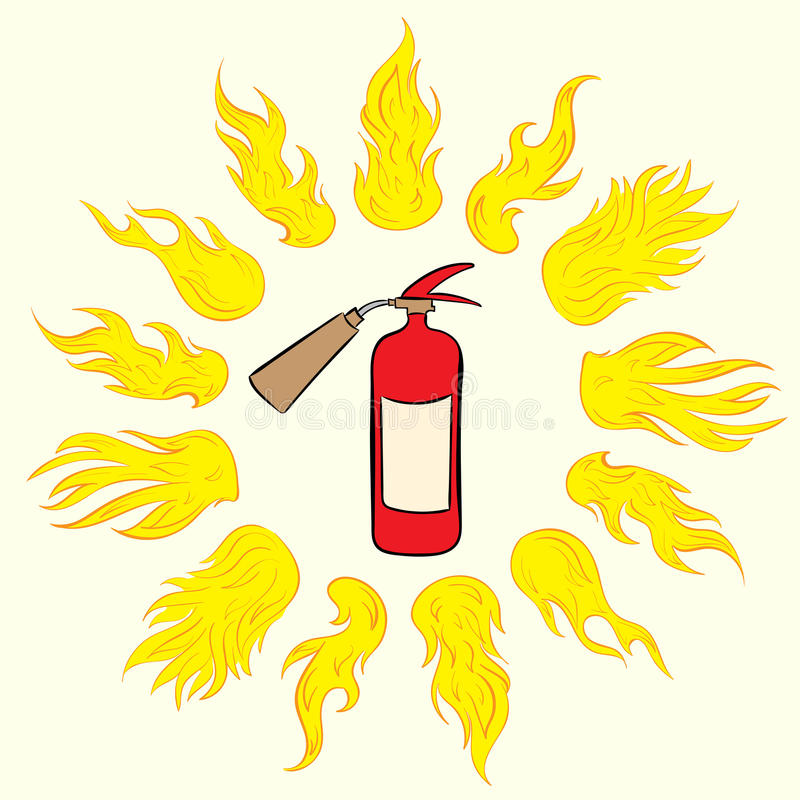 Extinguisher in fire circle. The red fire extinguisher in a circle of hot ardent fire vector illustration