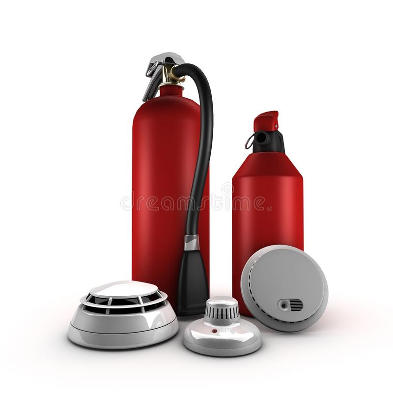 Extinguisher and fire detection. For house vector illustration