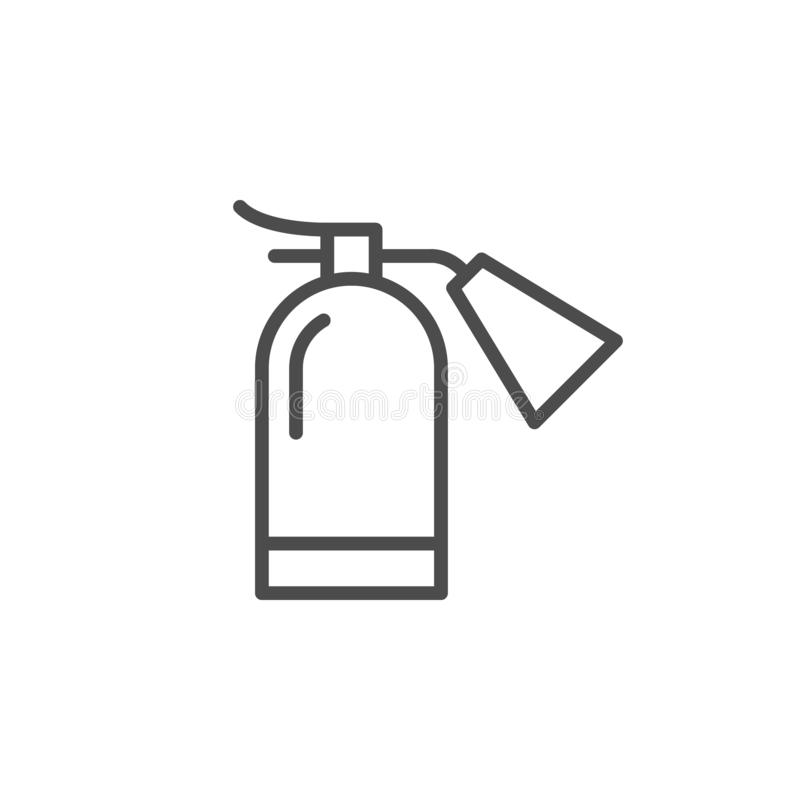 Extinguisher for fire fighter line outline icon. Isolated on white. Prevention of ignition. Rescue equipment with foam for emergency. Extinguish flame. Vector royalty free illustration