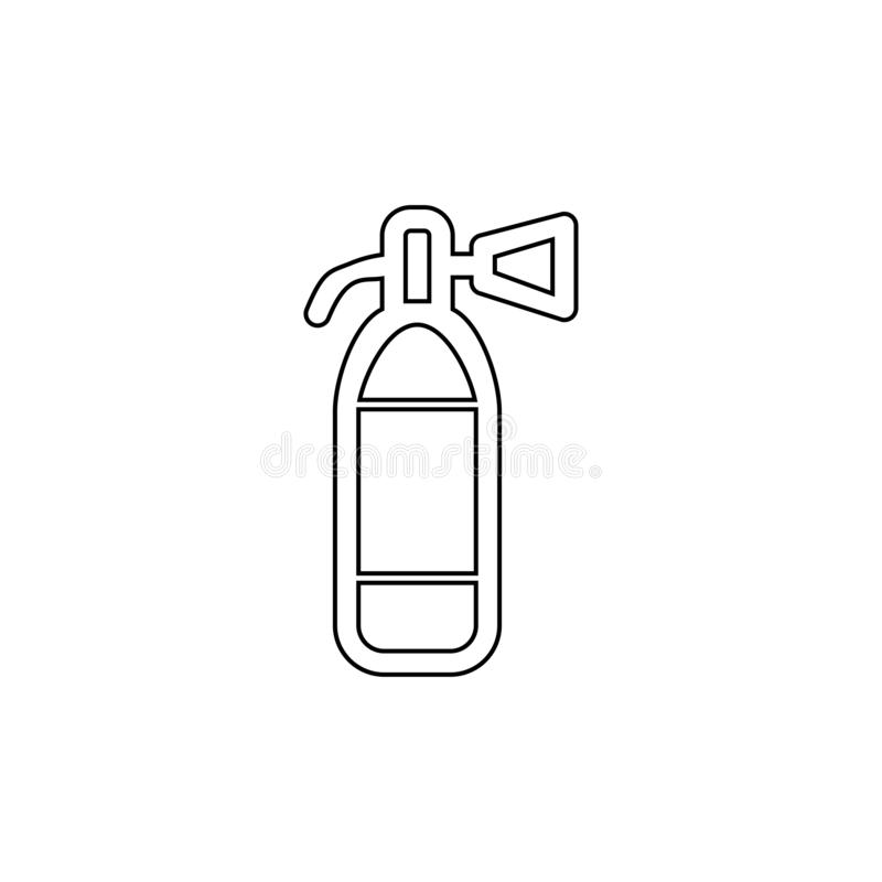 Fire extinguisher icon. Emergency tool symbol. Extinguisher, fire, icon, symbol, sign, safety, flame, alarm, burn, emergency, danger, protection, accident royalty free illustration
