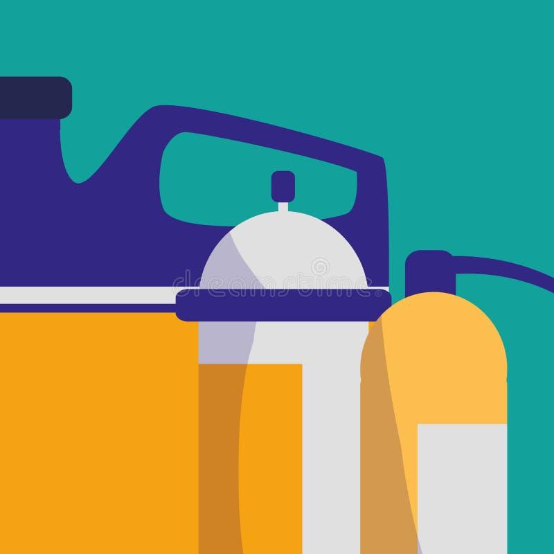 Extinguisher fire with oil gallon. Vector illustration design stock illustration